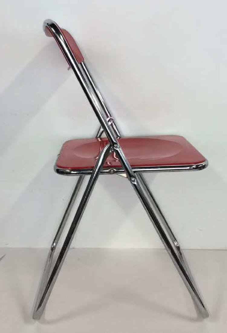 Mod Red Plastic and Silver Toned Metal Chair - 2