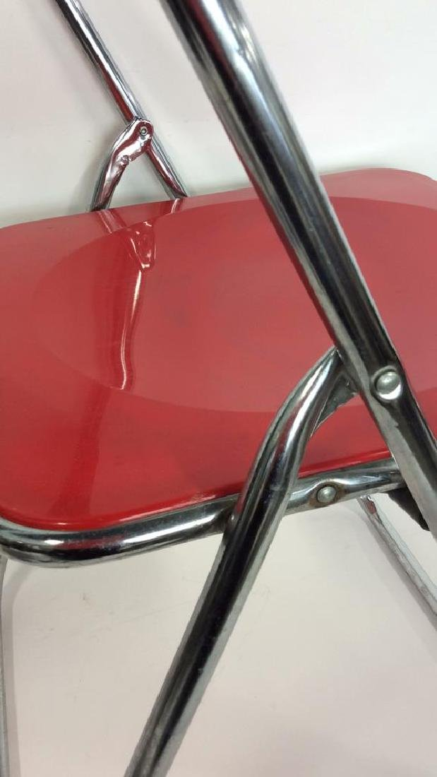 Mod Red Plastic and Silver Toned Metal Chair - 3