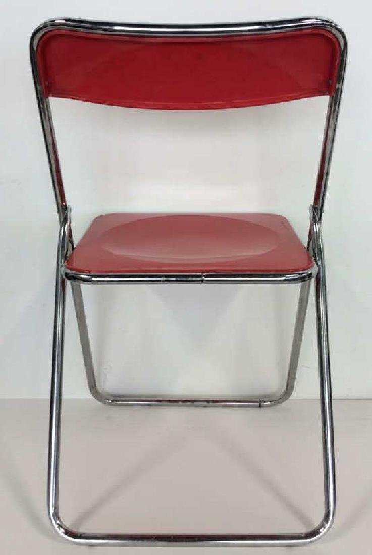 Mod Red Plastic and Silver Toned Metal Chair - 5