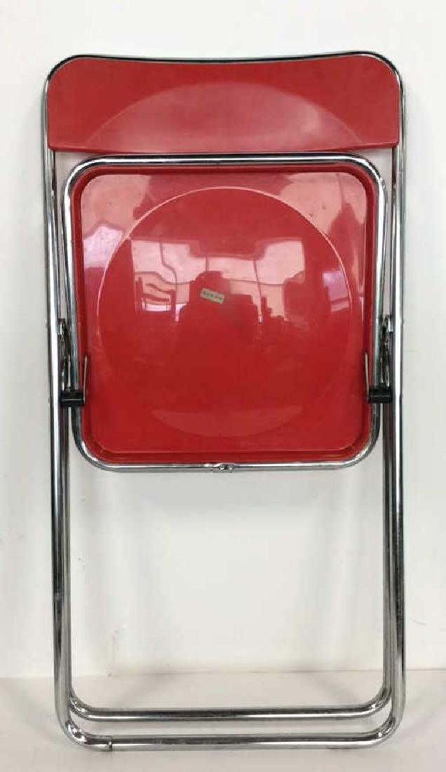 Mod Red Plastic and Silver Toned Metal Chair - 7