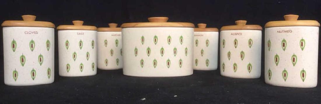 Lot 7 Ceramic Spice Jars Cannisters