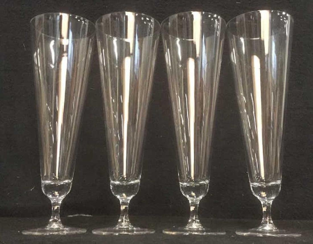 Lot 4 Glass Crystal Champagne Flutes