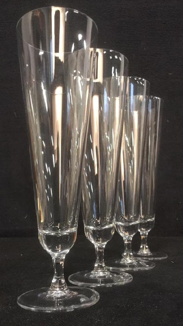 Lot 4 Glass Crystal Champagne Flutes - 2