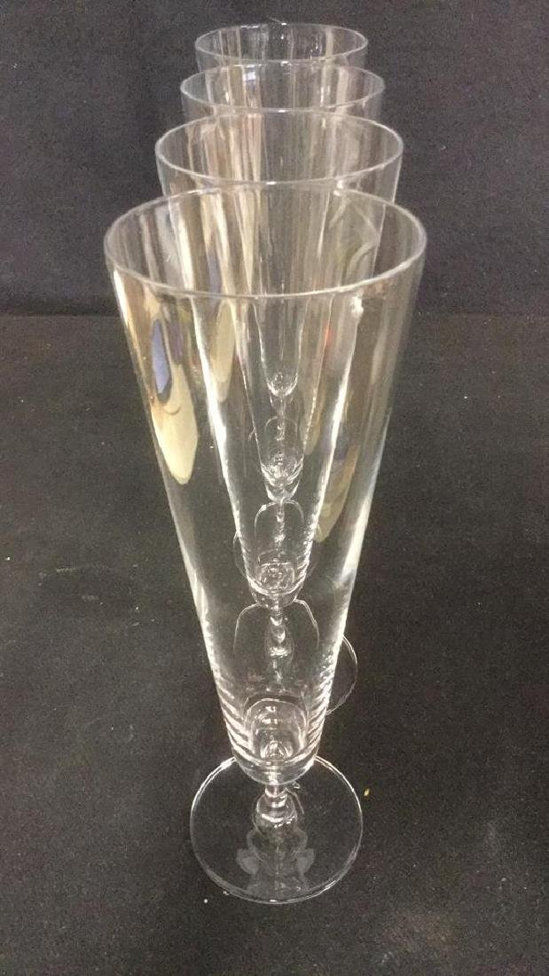 Lot 4 Glass Crystal Champagne Flutes - 5