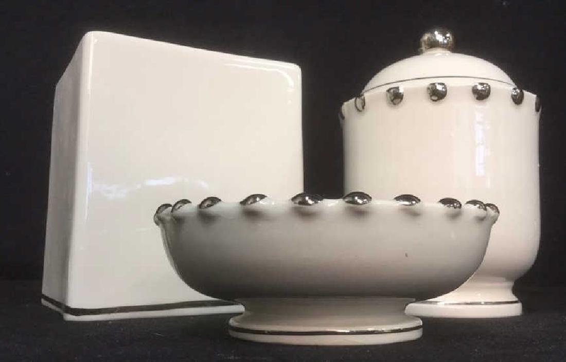 Lot 3 BLOOMINGDALES Ceramic Tabletop Accs