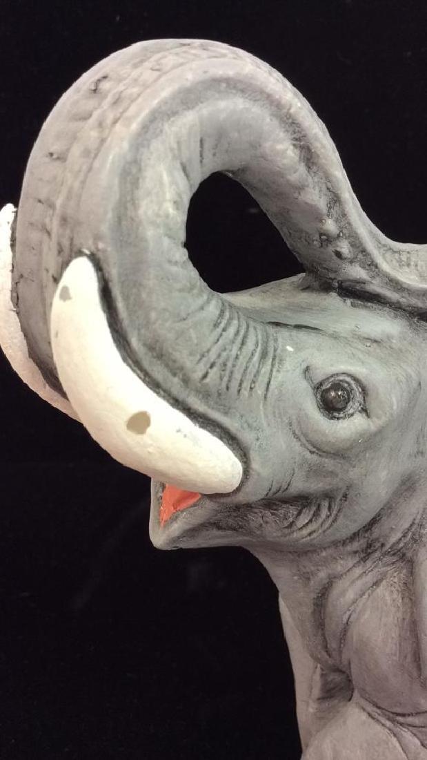Plaster Carved Elephant Figurine - 6