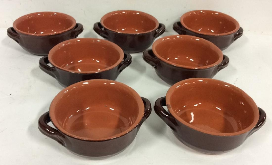 Lot 7 Brown Stoneware Handled Bowls Tabletop