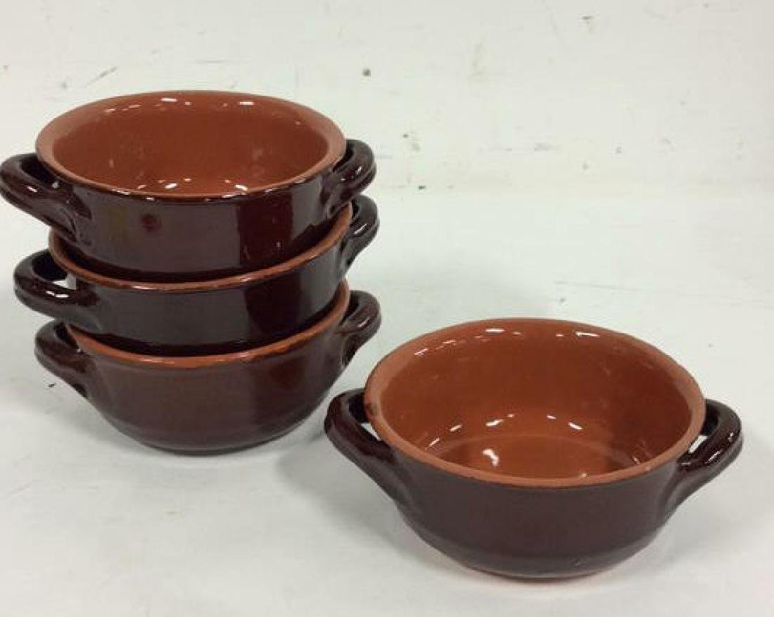 Lot 7 Brown Stoneware Handled Bowls Tabletop - 2