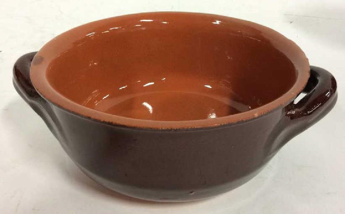 Lot 7 Brown Stoneware Handled Bowls Tabletop - 3