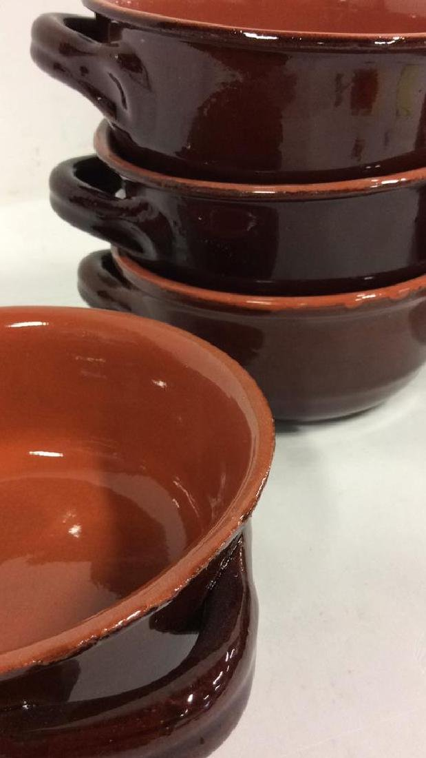 Lot 7 Brown Stoneware Handled Bowls Tabletop - 8