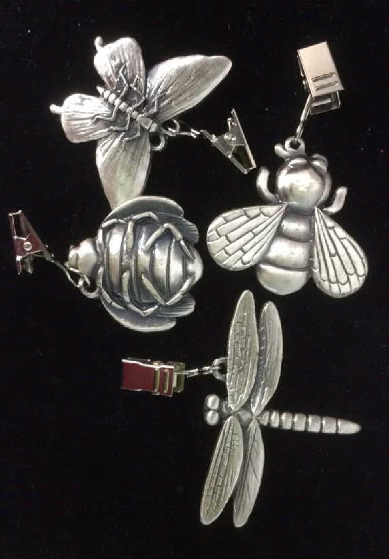 4 Pewter Insect Form Table Clips - 3