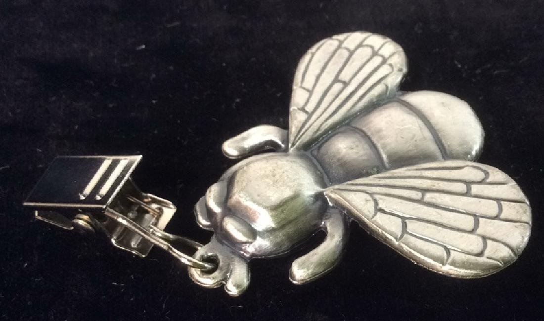 4 Pewter Insect Form Table Clips - 5