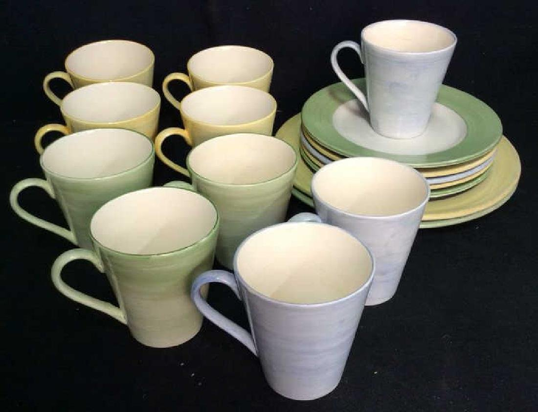 Set 17 HOLDENBY Hand Painted Mugs and Plates