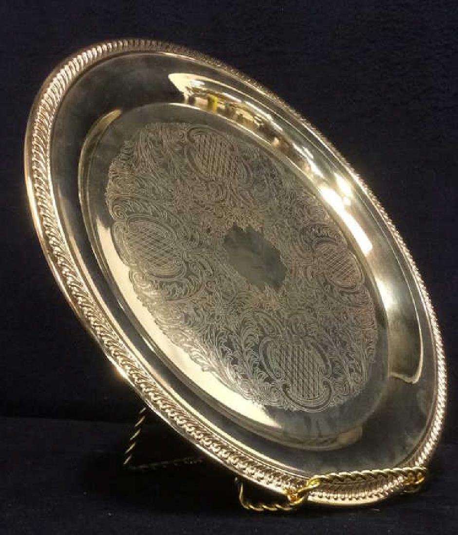 INTERNATIONAL SILVER CO Gold Toned Plated Platter - 3