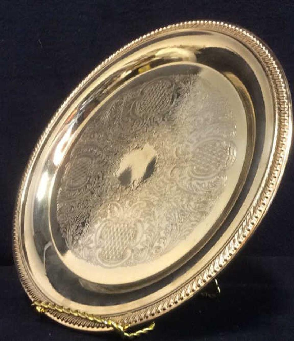 INTERNATIONAL SILVER CO Gold Toned Plated Platter - 4