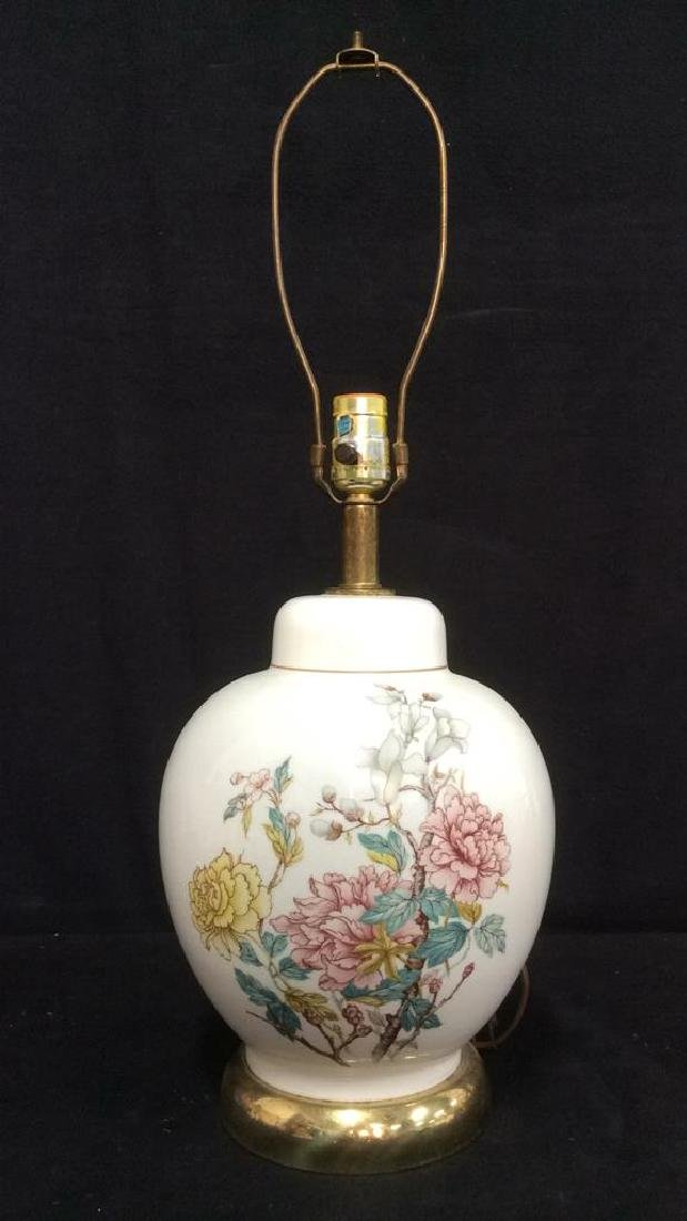 White Toned Floral Detailed Glass Lamp - 2