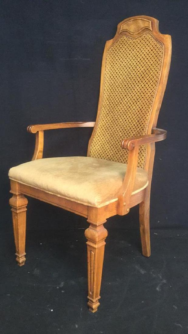 Carved Wooden Caned End Chair - 2