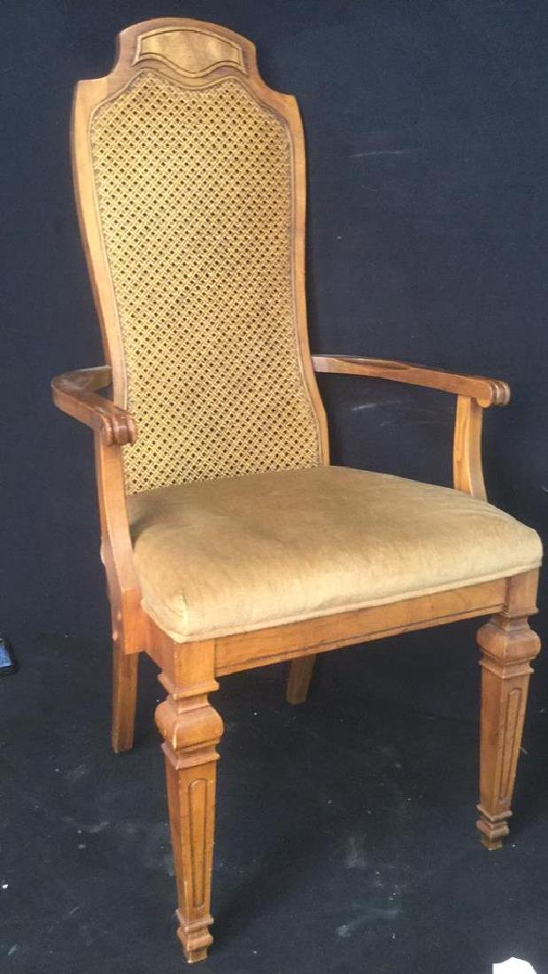 Carved Wooden Caned End Chair - 3