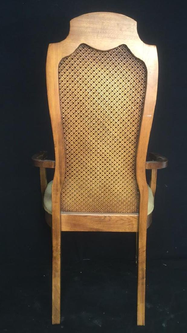 Carved Wooden Caned End Chair - 5