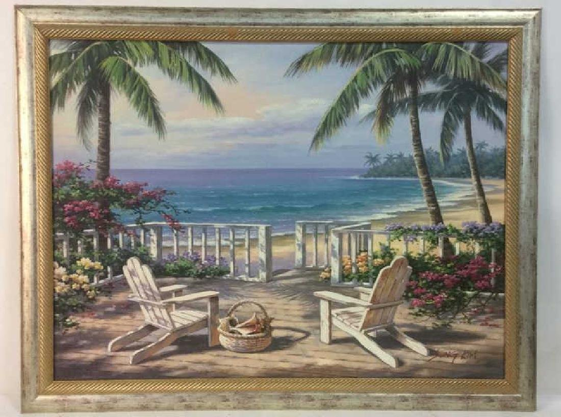 SUNG KIM Framed Beach  Print On Board