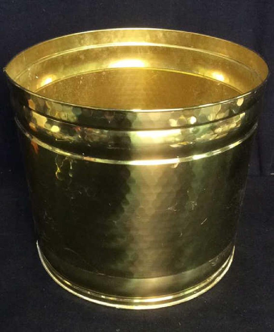 Gold Toned Cylindrical Metal Planter - 2