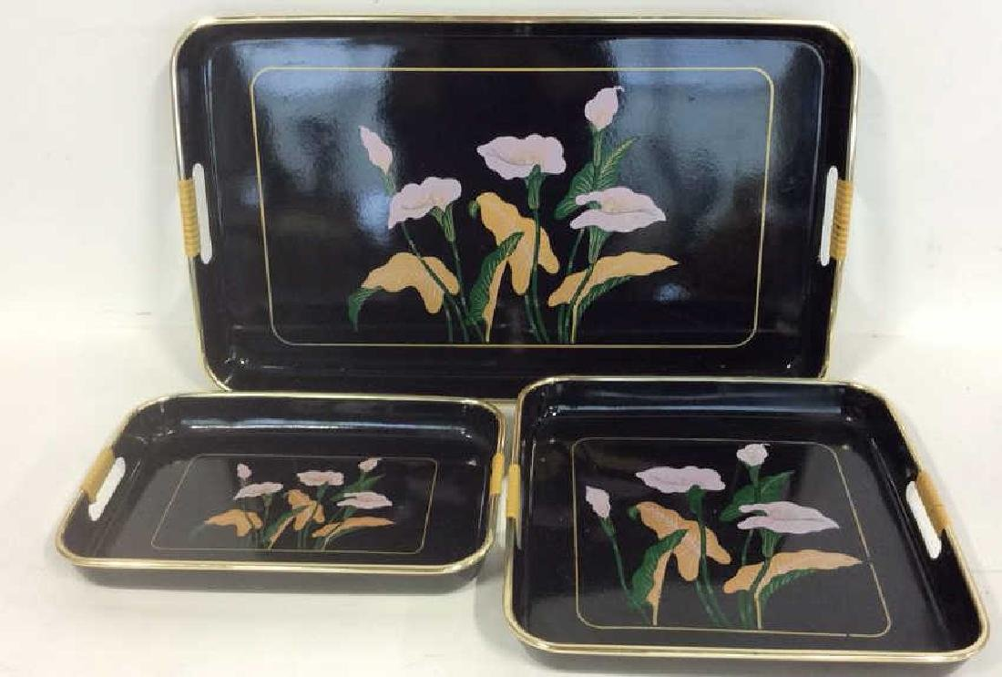 Set 3 Black Painted Lacquer Serving Trays