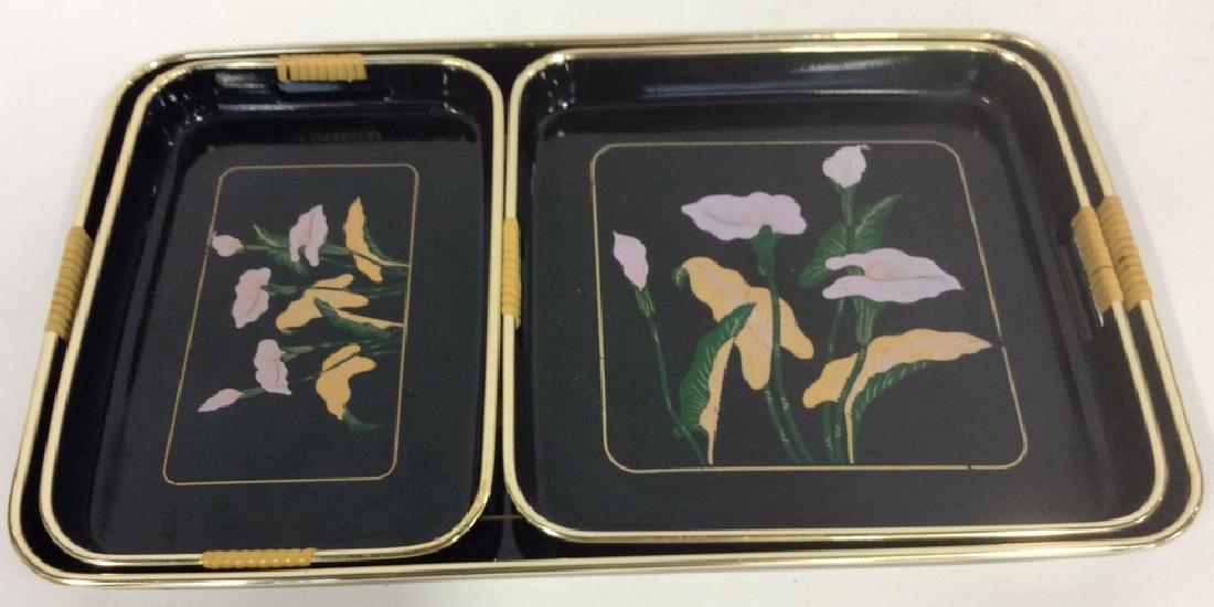Set 3 Black Painted Lacquer Serving Trays - 4