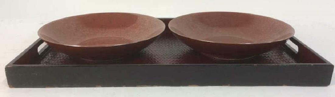 Lot 3 Pair Of Bowls & Serving Tray