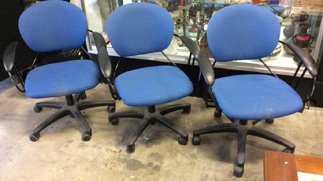 Lot 3 Blue Toned Wheeled Computer Chairs