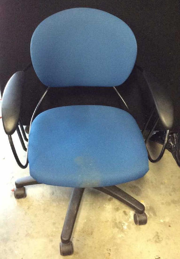 Lot 3 Blue Toned Wheeled Computer Chairs - 2