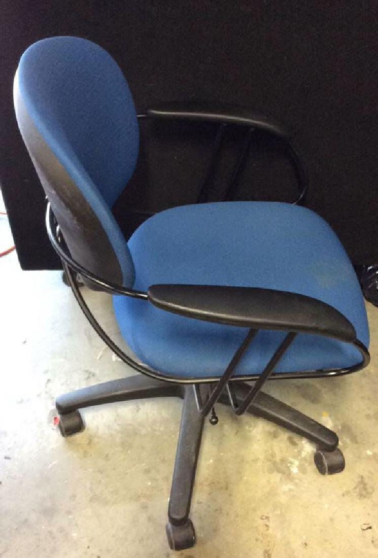 Lot 3 Blue Toned Wheeled Computer Chairs - 3