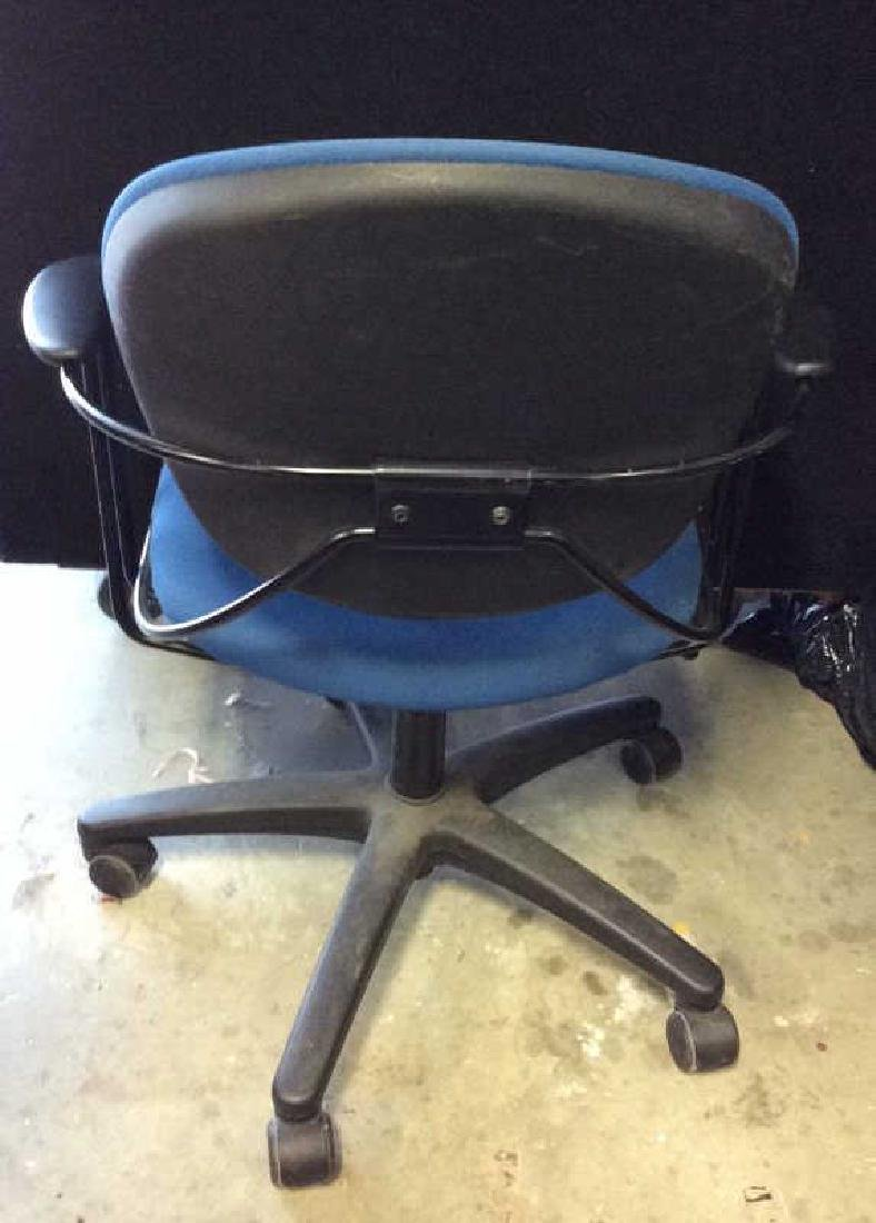 Lot 3 Blue Toned Wheeled Computer Chairs - 4