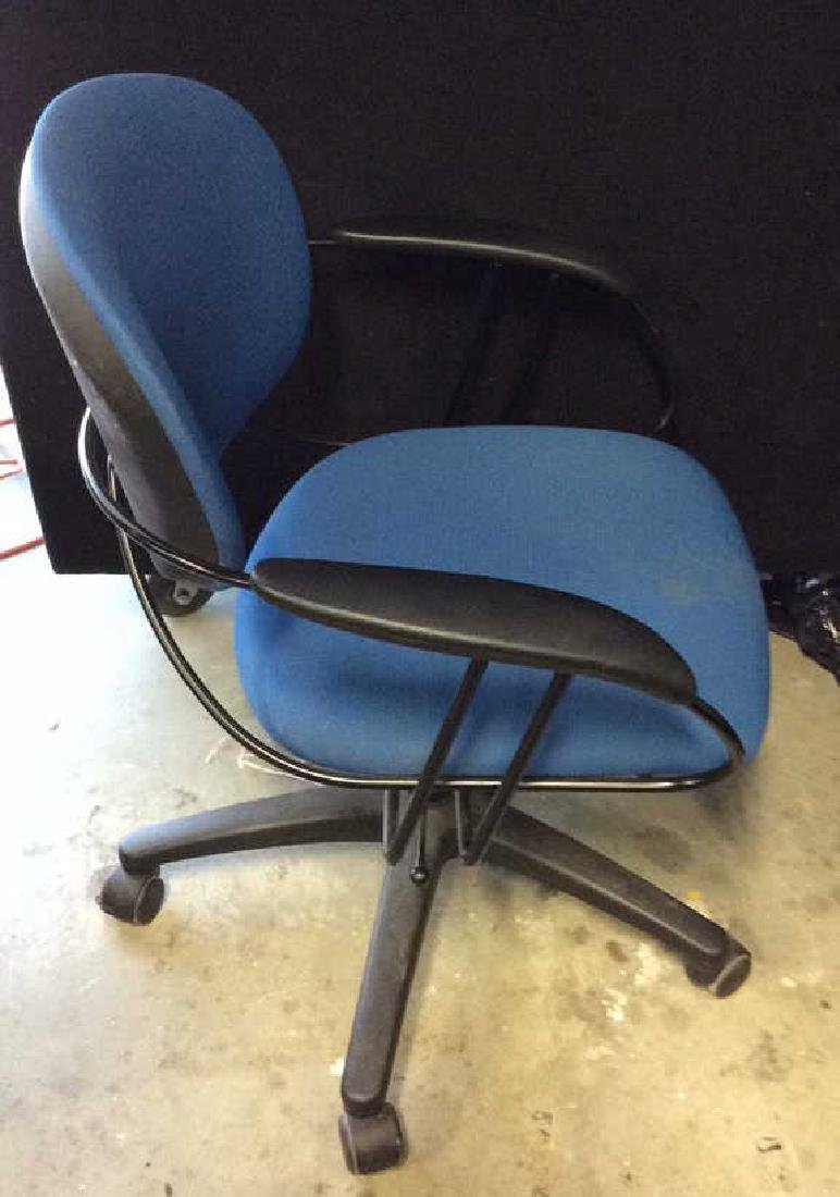 Lot 3 Blue Toned Wheeled Computer Chairs - 5