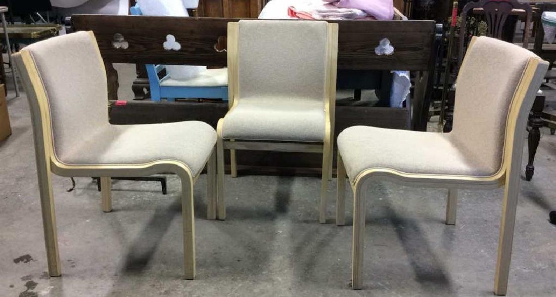 Lot 3 Wooden Cushioned Chairs