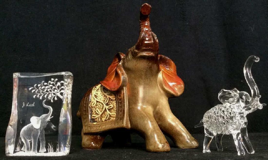 Lot 3 Assorted Elephant Figures