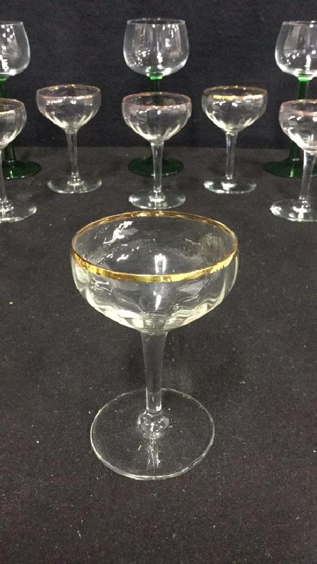 Lot 9 Vintage Mixed Collection Of Cordial Glasses - 2
