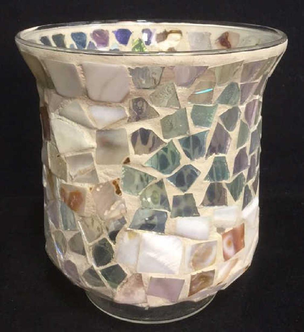 Mosaic Hurricane Glass Candle Holder