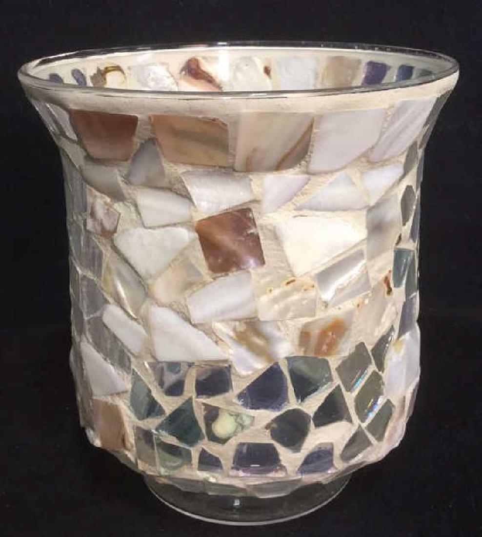 Mosaic Hurricane Glass Candle Holder - 2