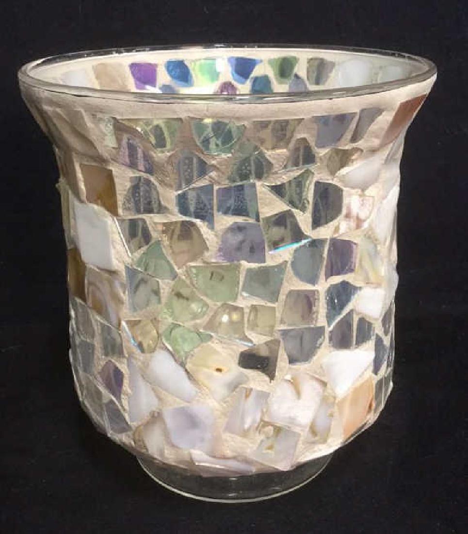 Mosaic Hurricane Glass Candle Holder - 3