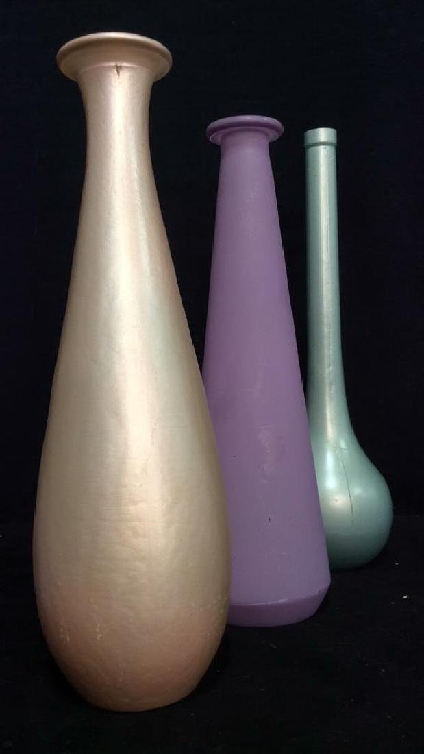 Lot 3 Assorted Art Glass Vases - 2