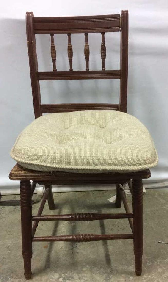 Vintage Wooden Side Chair w loose cusion seat