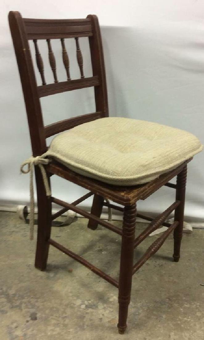 Vintage Wooden Side Chair w loose cusion seat - 2