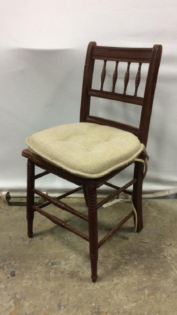 Vintage Wooden Side Chair w loose cusion seat - 3