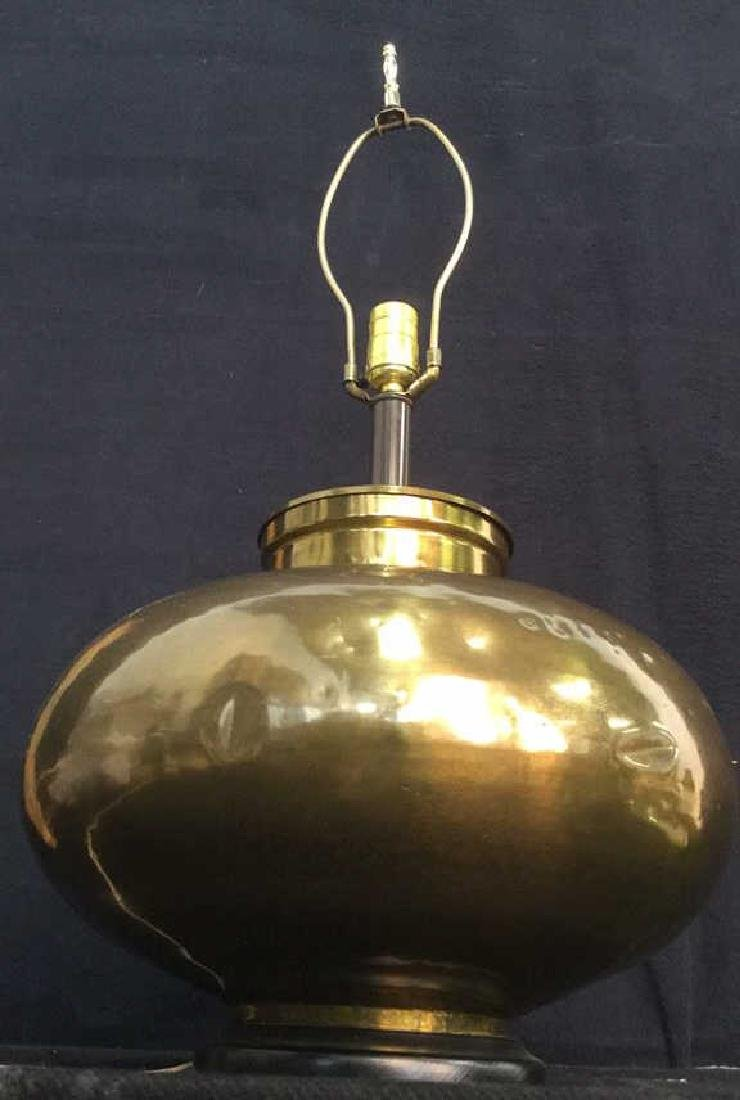 Gold Toned Brass Orb Form Lamp