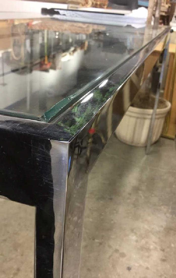 Contemporary Chrome & Glass DiningTable - 3