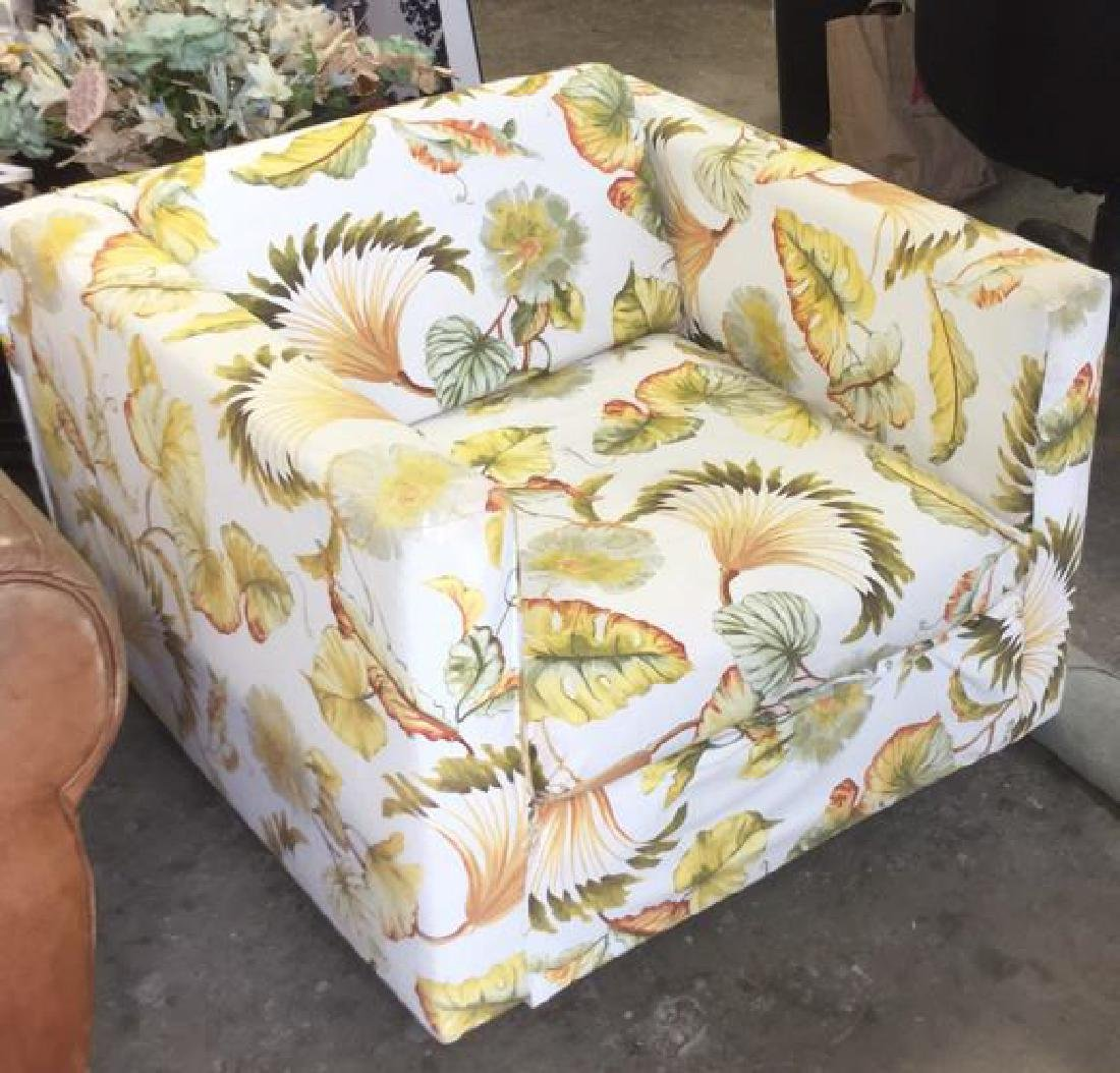 Green  Gold Tropical Leaf Upholstered Cube Chair