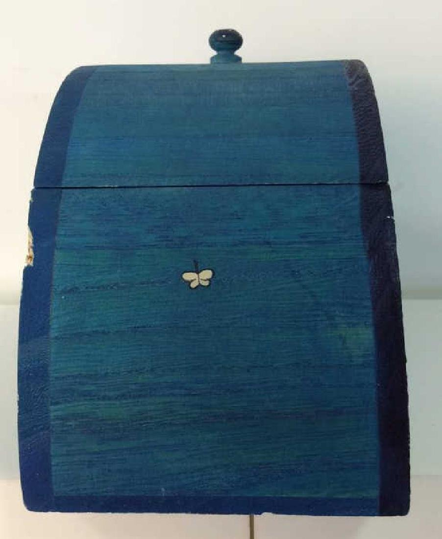 Painted Wooden Box W Dimensional Decorative Detail - 4