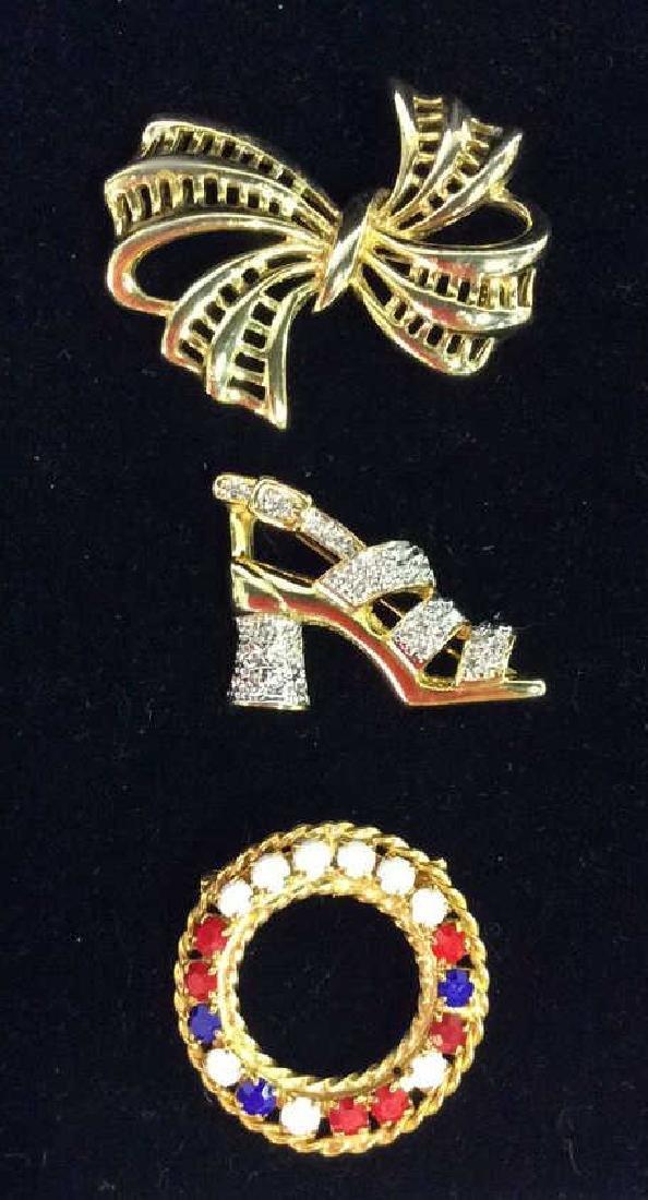 Lot 3 Gold Toned Metal Brooch Pins Jewelry - 2