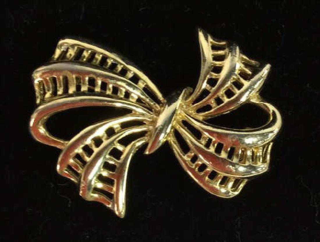 Lot 3 Gold Toned Metal Brooch Pins Jewelry - 3