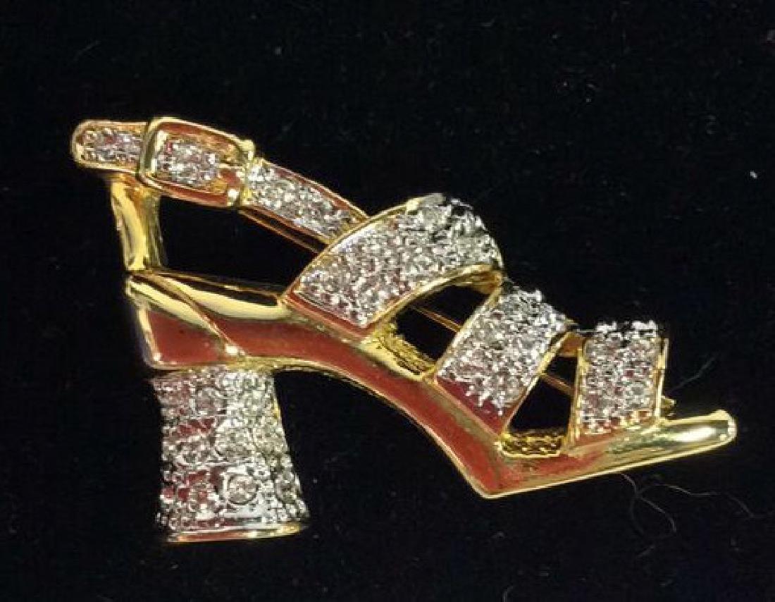 Lot 3 Gold Toned Metal Brooch Pins Jewelry - 5